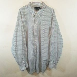 Ralph Lauren Button Down Dress Shirt Striped 3XLT